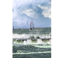 many surfers windsurfing in a storm Photographic Print