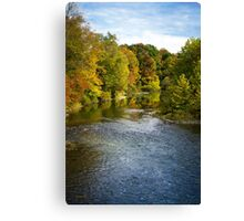Fall Foliage River Landscape Canvas Print