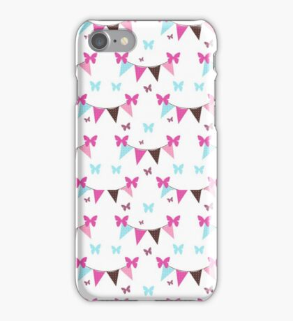 Vintage pink teal polka dots flags butterfly  iPhone Case/Skin