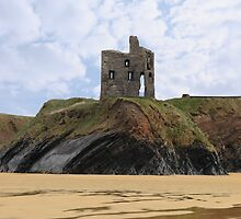 old castle cliff ruin ballybunion by morrbyte