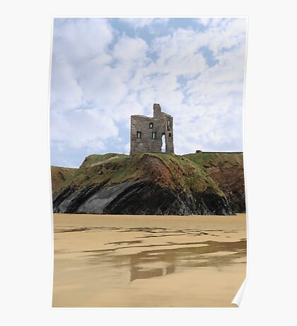 old castle cliff ruin ballybunion Poster