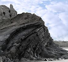 old ruins of a castle on a high cliff by morrbyte