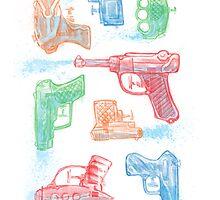 Watercolor Waterguns by ianleino