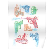 Watercolor Waterguns Poster