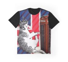 uk union jack flag london telephone booth funny royal kitty cat Graphic T-Shirt