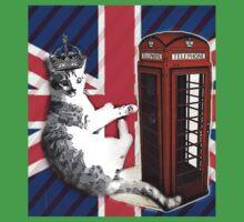 uk union jack flag london telephone booth funny royal kitty cat Baby Tee