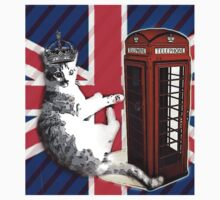 uk union jack flag london telephone booth funny royal kitty cat Kids Clothes