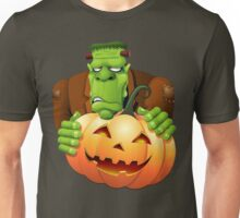 Frankenstein Monster Cartoon with Pumpkin Unisex T-Shirt