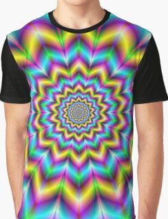 Yellow Blue and Violet Star Graphic T-Shirt