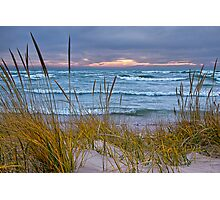Sunset Photograph of a Dune with Beach Grass at Holland Michigan No. 0199 Photographic Print