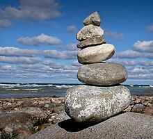 Cairn at North Point on Leelanau Peninsula in Michigan by Randall Nyhof