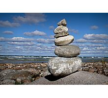 Cairn at North Point on Leelanau Peninsula in Michigan Photographic Print