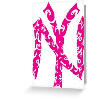 Yankees Tribal Pink  Greeting Card