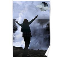 one woman with raised hands facing a wave and full moon on cliff edge Poster