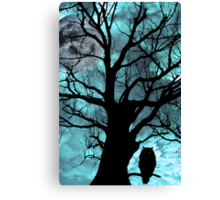 owl perched in ancient tree on moonlit night Canvas Print