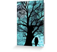 owl perched in ancient tree on moonlit night Greeting Card