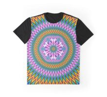 Floral Motif in Chevron Rings Graphic T-Shirt