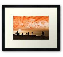 people on the cliff edge Framed Print