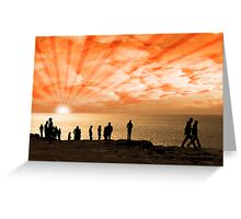 people on the cliff edge Greeting Card