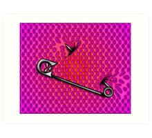 Sookie Skull Safety Pin Purple and Pink Art Print