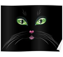 Black Cat Face with Green Eyes 3 Poster