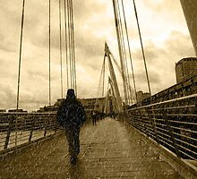 raining on london city bridge by morrbyte