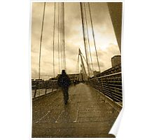 raining on london city bridge Poster