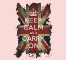 Vintage Keep Calm and Carry On and Union Jack Flag One Piece - Short Sleeve