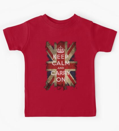 Vintage Keep Calm and Carry On and Union Jack Flag Kids Tee