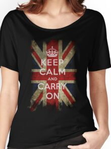 Vintage Keep Calm and Carry On and Union Jack Flag Women's Relaxed Fit T-Shirt