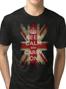 Vintage Keep Calm and Carry On and Union Jack Flag Tri-blend T-Shirt