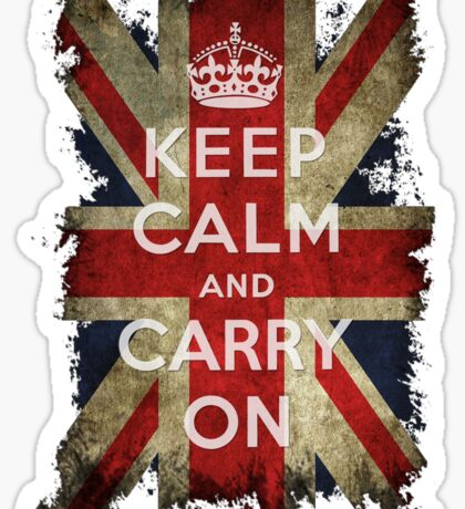 Vintage Keep Calm and Carry On and Union Jack Flag Sticker