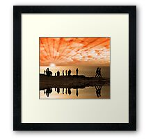 reflection of people on the cliff edge Framed Print