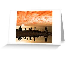 reflection of people on the cliff edge Greeting Card