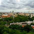 Bangkok from the Temple of the Golden Mount by skellyfish