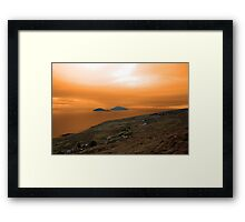 scarriff island view with red sky Framed Print