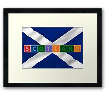 scotland and flag in toy block letters Framed Print