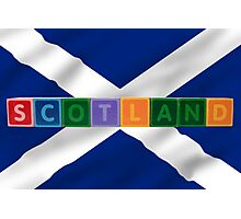scotland and flag in toy block letters Photographic Print