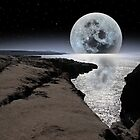 shimmering moon and boulders in rocky burren landscape by morrbyte
