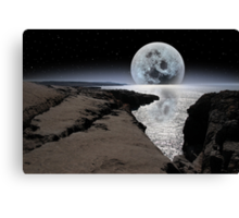 shimmering moon and boulders in rocky burren landscape Canvas Print