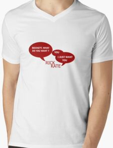 Beckett what do you want ?  Mens V-Neck T-Shirt