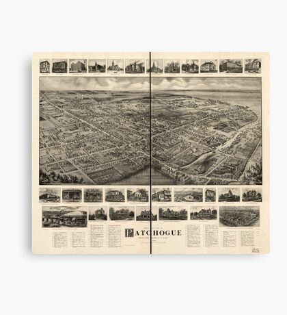 Panoramic Maps Bird's-eye view of Patchogue Long Island NY Canvas Print