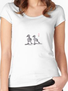 """print of original painting Japanese sumi-e """"Two duckling friends"""" Women's Fitted Scoop T-Shirt"""