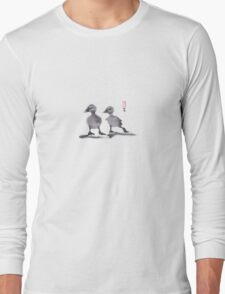 """print of original painting Japanese sumi-e """"Two duckling friends"""" Long Sleeve T-Shirt"""