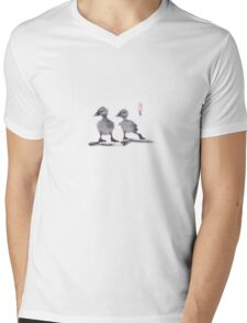 "print of original painting Japanese sumi-e ""Two duckling friends"" Mens V-Neck T-Shirt"