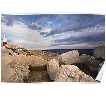 Portland Bill Lighthouse Rocks, Dorset Poster