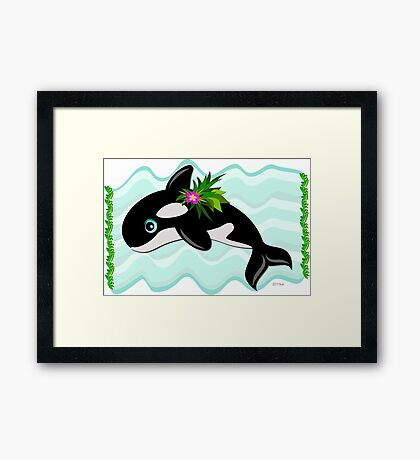 Orca Whale with a Flower Framed Print
