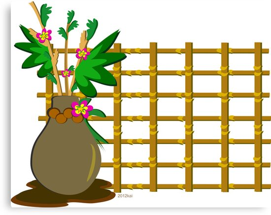 Vase with Flowers and Bamboo Grid by TheBluePlanet