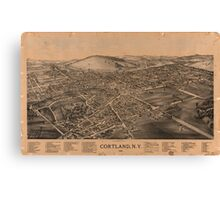 Panoramic Maps Cortland NY Canvas Print