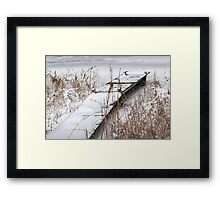 Boat Dock in Winter on a Lake in Yankee Springs Framed Print